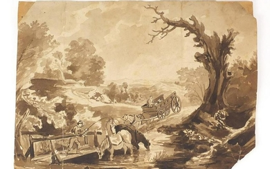 Attributed to Thomas Gainsborough - The Brook by The