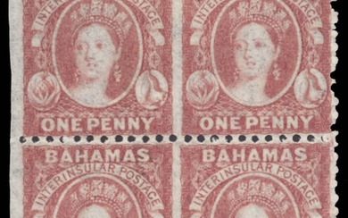 Bahamas 1862 perf 11 to 12½ 1d. lake block of four partly perforated, remaining imperforate be...