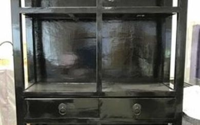 Black Toned Lacquered Asian Cabinet