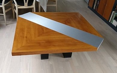 "Bob & Dries van den Berghe: ""Pompei"". A square cherry wood coffee table. Manufactured by Tranekær Furniture A/S. H. 51. W/L. 100 cm. W/L 122 cm."