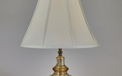 Bohemian yellow cut to clear decanter lamp, 19th c.