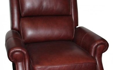 Burgundy leather reclining glider chair