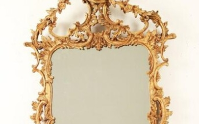 CHINESE CHIPPENDALE STYLE CARVED GILTWOOD MIRROR BY