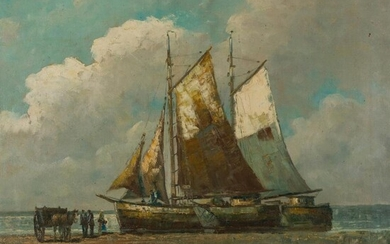CIRCLE OF HENDRICK WILLEM MESDAG (DUTCH 1831 - 1915) UNLOADING THE CATCH