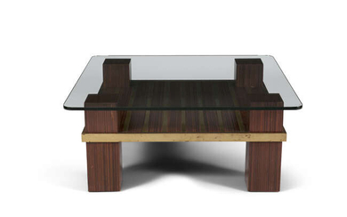 COFFEE TABLE A rosewood coffee table, with brass...