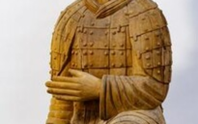 Chinese Qin Style Wood Warrior Statue