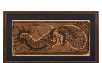 Chinese Signed Antique Imperial Dragon Painting