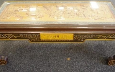 Chinese carved wood coffee table with glass top, length 101c...