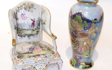 Chinoiserie decorated Carlton ware vase; together with a French faience...