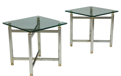 Chrome and Glass Side Tables - Pair