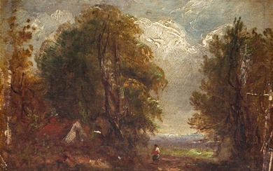 Circle of John Constable RA, British 1776-1837- Wooded landscape with...