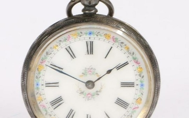 Continental silver ladies open face pocket watch, the