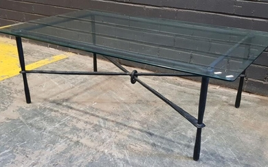 Corso Di Fiori Glass Top Metal Based Coffee Table (Chips to glass (h:41 x w:122 x d:46cm)
