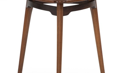 Danish cabinetmaker: Triangular coffee table of rosewood with profiled legs. 1960s. H. 57 cm. L./W....