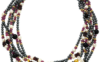 Diamond, Multi-Stone, Cultured Pearl, Gold Necklace The torsade is...