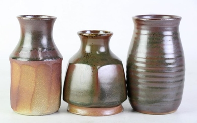 Drip Glaze Studio Pottery Vases in Brown & Green Tones, signed 'B' to bases, height of tallest 17cm