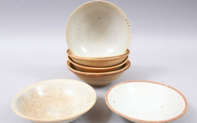 EIGHT EARLY CHINESE POTTERY GLAZED BOWLS, some glazed,