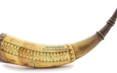 ENGRAVED POWDER HORN OF HENRY THORN, DATED 1779.