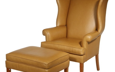 ETHAN ALLEN LEATHER WING CHAIR & OTTOMAN