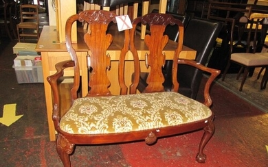 Early 20th Century Walnut Double Chair Back Two Seater Salon...