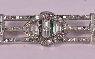 Edwardian Platinum Diamond Emerald Onyx Brooch
