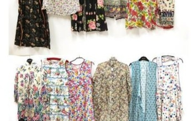 Eighteen Assorted Circa 1930's-1950's Printed Cotton Aprons and Housecoats, including...