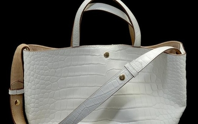 Elizabeth and James White Crocodile Pattern Leather