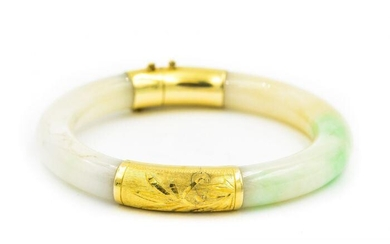 Estate Yellow Gold and Jade Bangle with Mason Kay