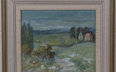 F. Sinclair - 'Village near Soissons', 20th century oil on board, signed recto, titled verso, 20cm x