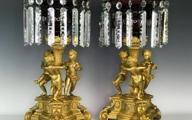 FINE PAIR OF DORE BRONZE AND CRYSTAL CENTERPIECES