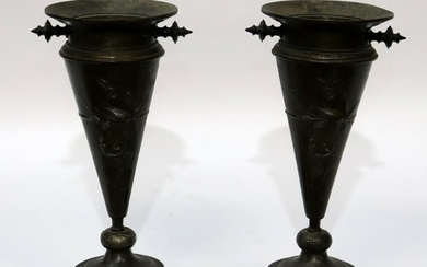 FRENCH BRONZE VASES, 19TH C, PAIR, H 8.25""
