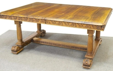 FRENCH CARVED WALNUT EXTENSION DINING TABLE