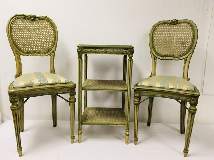 FRENCH LOUIS XVI STYLE CANED SIDE CHAIRS & TABLE