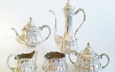 Fine19C Sterling Silver Gorham Coffee/Tea Set