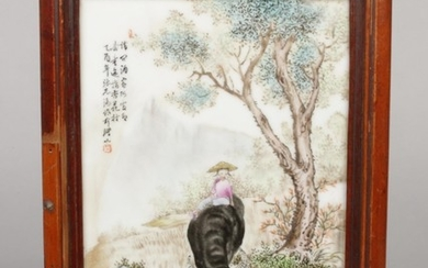 Four late 19th century Chinese framed porcelain plaques. Pai...