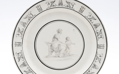 French Empire-style dish in Creil pipe earthenware, early decades of the 19th Century.