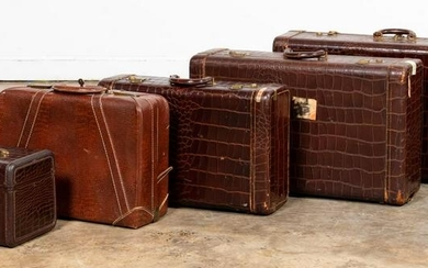 GROUP, FIVE VINTAGE LEATHER LUGGAGE CASES
