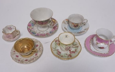 GRP OF 6 CUP & SAUCER SETS, 4 LIMOGES