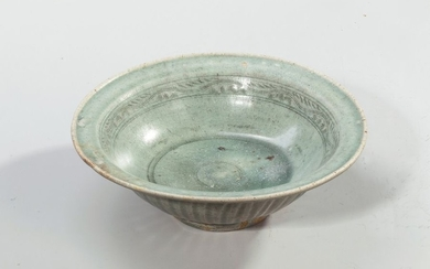 Glazed terra cotta bowl with celadon decoration with...