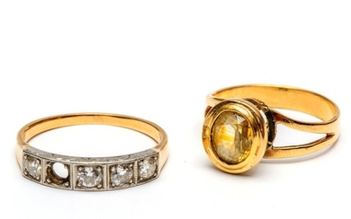 Gold and platinum riding ring and a solitair...