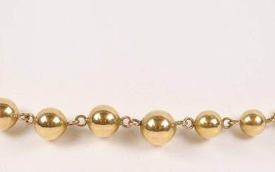 """Gold-plated """"balls"""" necklace. L : 48 cm"""