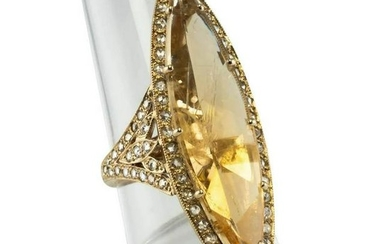 Golden Quartz Diamond Ring Rose cut 18K Yellow Gold