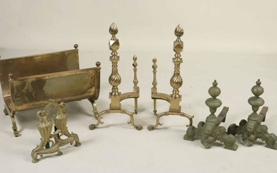 Group of Brass and Metal Fireplace Accessories