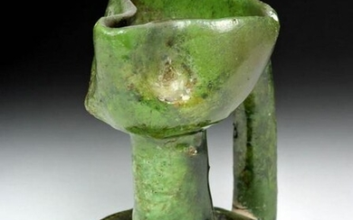 Islamic Green-Glazed Stemmed Oil Lamp