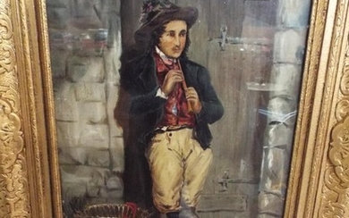 Italian school, oil on canvas of a young man playing a flute...