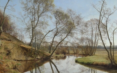 Janus la Cour: Spring day at Skovmølleåen (forest mill stream). Signed and dated Janus la Cour 1902. Oil on canvas. 120×155 cm.