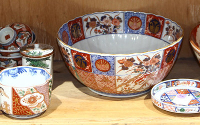 Japanese One shelf of Imari, Kutani Ware