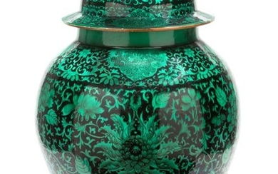 Jar - Porcelain - A Rare And Large Green And Black Enamel Baluster Jar And Cover - China - 18th century