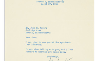 "KENNEDY, JOHN F. Brief Typed Letter Signed, ""John Kennedy,"" as Representative"
