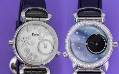 Korloff - Reversible Diamonds for 1,14 Carat Cassiope CollectionWhite/ Blue Mother Of Pearl dials Swiss Made - LR3B/4D - Women - Brand New